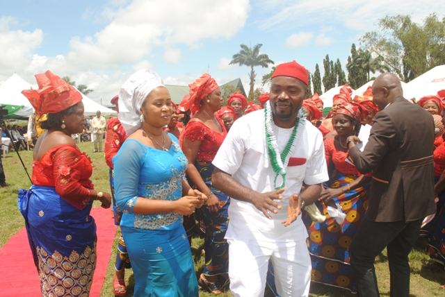 Aniocha North Council boss, Hon. Chuks Oseme dancing with his wife and other Aniocha North women at the occassion