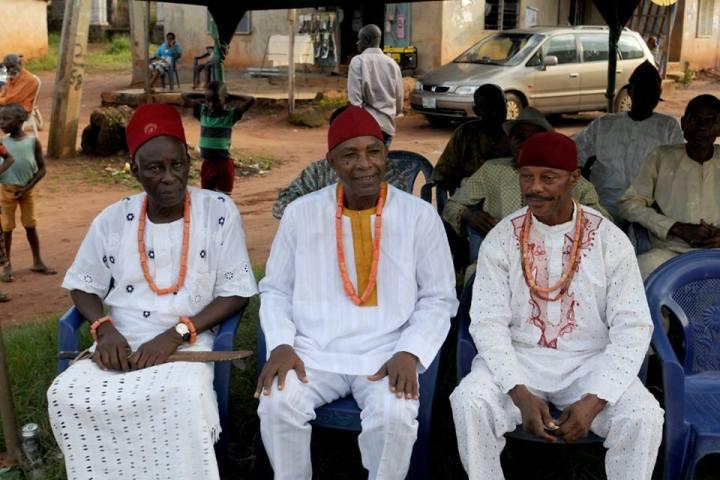 From left: Iyase Agba High Chief Alex Ujumba Odih-Okoh. Eze of Agba, Eze Chris Elue. Onishe Agba, Mr Shieli Monyei.
