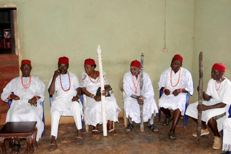 Leading Chiefs and the Omu (Queen Mother) assemble at the old Ogwa in the old 1950s Obi Okobi's Palace.