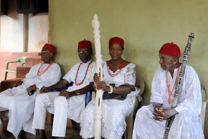 From left to right: Chief (Prince) Augustine Osode, the Ozoma of Onicha Ugbo and head of the Palace Chiefs. Mr Onekamse Kachikwu representing High Chief (Dr) Ibe Emmanuel Kachikwu, the Odogwu of Onicha Ugbo. Omu Anwuli M.Ed, the Queen Mother of Onicha Ugbo. Chief Okafor Williams Amafuibe, the Odafe of Onicha Ugbo.