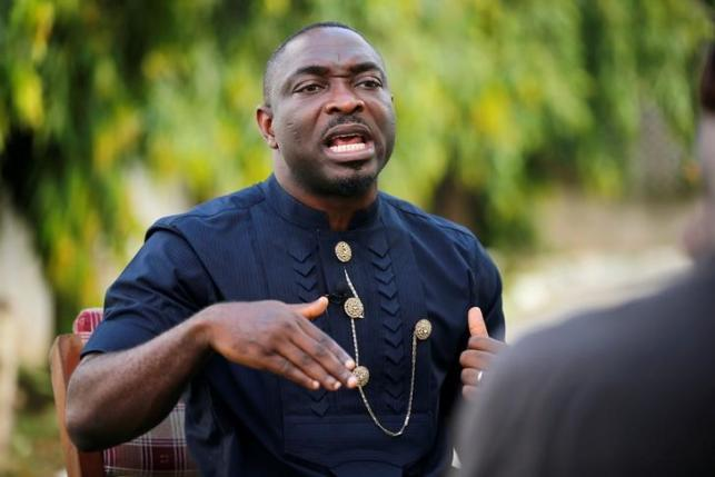 Ijaw Youth Council President Udengs Eradiri reacts during an interview with Reuters in Nigeria's Delta region
