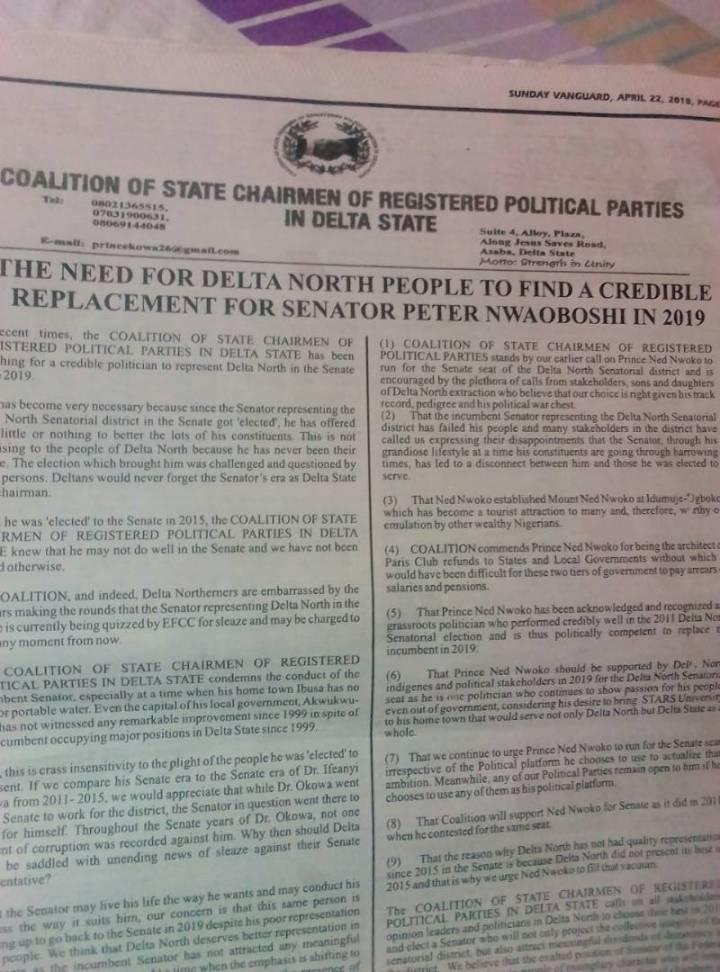 Senator Nwaboishi Release